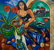 """""""Georgia - Sehnsucht, Liebe ..."""", 140 x 150 cm, Öl auf Jute, 2010"""