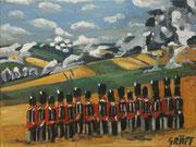 """""""Die Briten bei Quatre Bras (1815)"""", Öl auf Leinwand, 30x40 cm, 2019;  F. N. 96 I von II - (2019: 22 I von II)"""