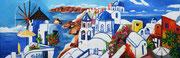 """Zauberhaftes Santorin"", Öl auf Leinwand, 40x120 cm, 2019;  F. N. 101 - (2019: 27)"