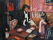 """""""Der Brief"""", Öl auf Leinwand, 30x40 cm, 2020;  F. N. 130 - (2020: 27)"""
