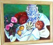 NICHT MEHR ERHÄLTLICH, Opulentes Stillleben mit Vase, Kürbissen und Blumen, 2005
