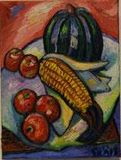 Maiskolben mit Kürbis und Äpfeln, 40x30 cm, 2012