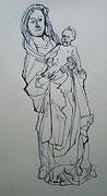 Maria mit dem Kinde, Tuschezeichnung