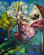 NICHT MEHR ERHÄLTLICH, Blühende Bäume im Garten, 90x75, 2010