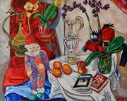 """""""Stillleben mit Harlekin, Vase, Orchideen und Lektüre"""", Öl auf Leinwand, 80x100 cm, 2015"""