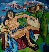 """""""Georgia, griechische Schönheit"""", 130 x 140 cm, Öl auf Jute, 2011"""