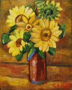 Blühende Sonnenblumen im Herbst, 50x40 cm, 2012