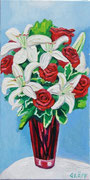 """""""Weiße Lilien und rote Rosen"""", Öl auf Leinwand, 60x30 cm, 2016"""
