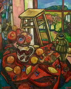 Rotes Stillleben im Frühling, 100x80 cm, 2009