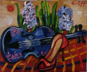 NICHT MEHR ERHÄLTLICH, Stillleben mit Hyazinthen, Geige und Stilschuh, 50x60 cm, 2012