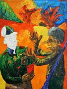 Szenerie aus dem 2. Weltkrieg,  (2. Ölbild auf der Universität für Angewandte Kunst, Wien), 80x60 cm, 2002