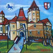 NICHT MEHR ERHÄLTLICH, Schloss Kornberg, 50x50 cm, 2013. Dieses Gemälde wurde an Mag. Andreas Graf Bardeau, als Schlossherr von Kornberg Besitzer einer Ahnenresidenz des Künstlers, überreicht.