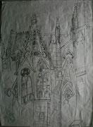 Meine V(M)otivkirche I, Bleistiftzeichnung, 2003