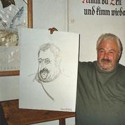 NICHT MERHR ERHÄLTLICH, Sommerakademie Geras. Porträt/Karrikatur beim Heurigen in Obermixnitz