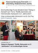 Bericht auf Seite der Paneuropa Bewegung Österreich