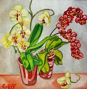 """Blühende Orchideen"", Öl auf Leinwand, 60x60 cm, 2015"