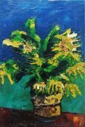 Sonnenblumen, Öl auf Leinwand, 75x50 cm, 20. Juli 2002 (1. bekanntes Landschaftsbild im Erwachsenenalter)