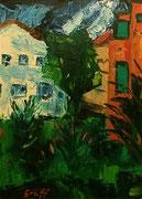 Der Baum im Nachbargarten, 75x55 cm, (5. Juli 2002, 1. bekanntes Landschaftsbild im Erwachsenenalter)