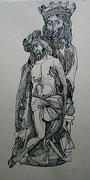 Jesus mit dem Himmelskönig, Tuschezeichnung