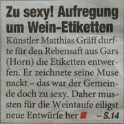 """Matthias Laurenz Gräff. Pressebericht über den Garser Wein auf der Titelseite der Tageszeitung """"Heute"""", Mo, 28. 4. 2014, Nr. 1995"""