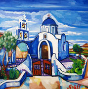 """Allerheiligenkirche in Akrotin (Santorin)"", 70x70 cm, 2014"