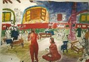 VERSCHOLLEN, Sommerakademie Geras, Im Teichsaal, Aquarell und Tusche auf Papier, 2001