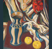 Früchtestillleben mit Teufelsfratze, 75x90 cm, 2004