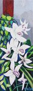 """Weiße Orchideen"", Öl auf Leinwand, 80x30 cm, 2019;  F. N. 81 - (2019: 7)"