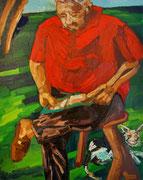 ÜBERMALT, Papa mit Mitzemutz, lesend im Garten, 100x80 cm, 2005