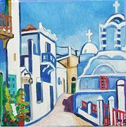 """""""In den Straßen von Griechenland"""", Öl auf Leinwand, 40x40 cm, 2017;  F. N. 2 - (2017: 2)"""