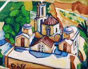"""Kirche Panagia Episkopi auf Santorin"", 40x50 cm, 2014"