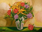 """""""Opulenter Frühlingsbote mit Lilien und Nelken"""", Öl auf Leinwand, 60x80 cm, 2015"""