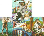 NICHT MEHR ERHÄLTLICH, Triptychon `Irdisches-Himmlisches`, 120x80/230x120/120x80 cm, 2006