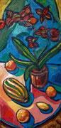 Stillleben mit Orchidee, Melone und Zitronen, 100x50 cm, 2009