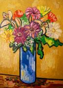 NICHT MEHR ERHÄLTLICH, Blühende Orchideen und Gerbera auf ockernem Hintergrund, 80x60 cm, 2011