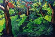NICHT MEHR ERHÄLTLICH   Gartenlandschaft am späten Nachmittag, Öl auf Hartfaserplatte, 45x65 cm, 2005