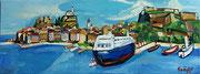 Die Stadt Korfu vom Meer aus gesehen, 30x80 cm, 2013