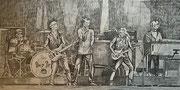 """""""Deep Purple beim Auftritt in Wacken im Jahr 2013"""", Bleistifte auf Papier, 28x56 cm, Illustration 2017"""