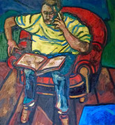 """ÜBERMALT,  """"Studie (Sitzender Vater)"""", Öl auf Leinwand, 130x120 cm, 2009"""