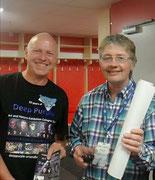 Werbung mit Ralf Schmidt und Don Airey von Deep Purple