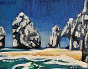 """Meeresbrandung vor den Klippen auf Korfu"", Öl auf Leinwand, 24x30 cm, 2020;  F. N. 124 - (2020: 21)"