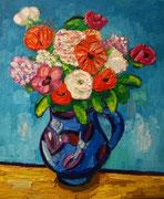 NICHT MEHR ERHÄLTLICH, Kleines Blumenstück in blauer Vase, 60x50 cm, 2010 (?)