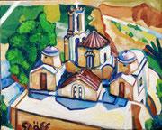"""Kirche Panagia Episkopi auf Santorin"", 40 x 50 cm, 2014"