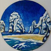 """NICHT MEHR ERHÄLTLICH   """"Felsen bei Zakynthos"""", Öl auf Leinwand, Durchmesser 30 cm, 2019;  F. N. 77 - (2019: 3)"""