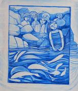 Série fenêtres bleues acrylique  #8 L'EAU  MIGRATION  MOUVEMENT