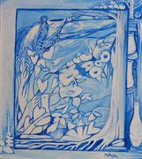 Série fenêtres bleues acrylique #1  L'ENFANT  EST  COMME  UN  VASE