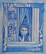 Série fenêtres bleues acrylique #9 LA  FAMILLE  HISTOIRE DE FAMILLE RACINES ARBRES