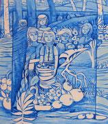 Série fenêtres bleues acrylique  #4 CUEILLETTE LES FRUITS SONT MÛRS TEMPS DES POMMES