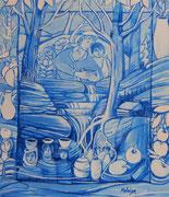 Série fenêtres bleues acrylique #6 LE PARTAGE DE L'EAU