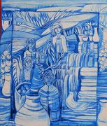 Série fenêtres bleues acrylique #5 L'EAU   SOURCE  DE  VIE